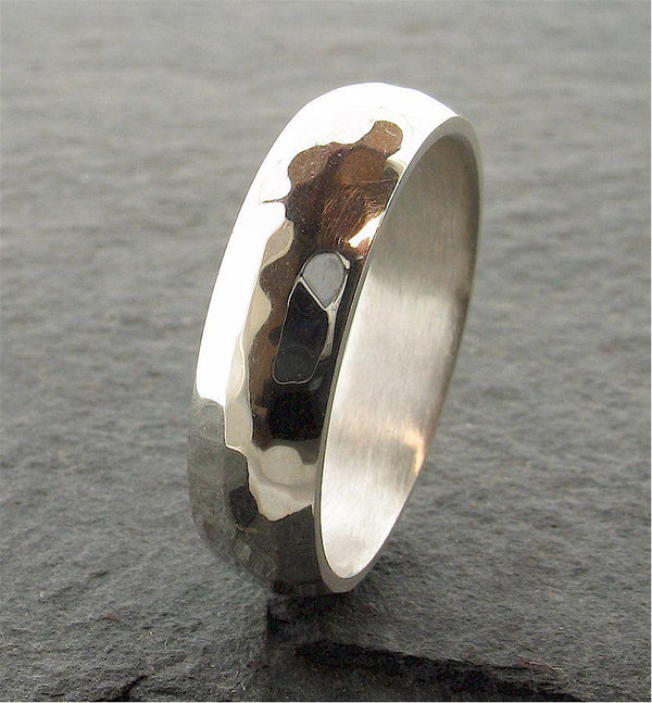 Platinum broad wedding ring, Pebble design - Cumbrian Designs