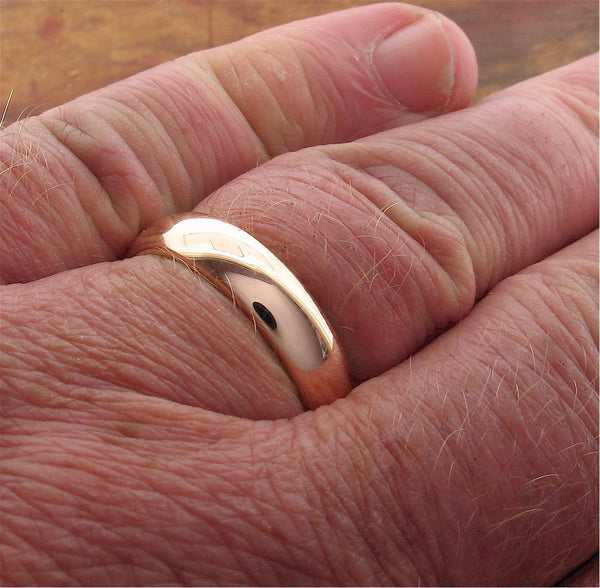 Rose gold court broad wedding ring. - Cumbrian Designs