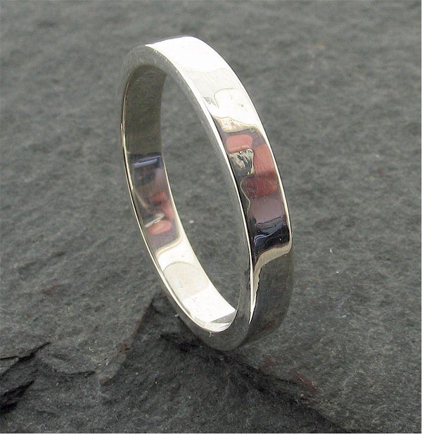 Silver thin wedding ring, Water Ripples design - Cumbrian Designs