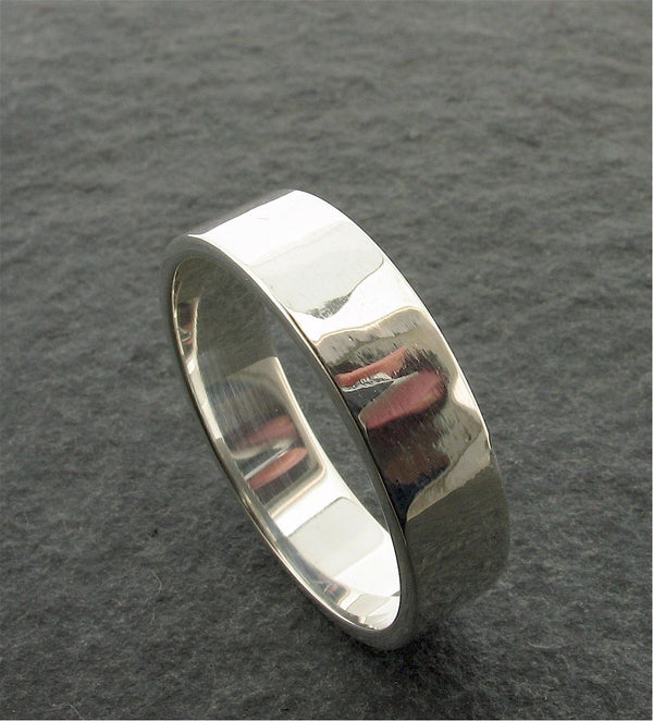 Platinum broad wedding ring, Water Ripples design - Cumbrian Designs