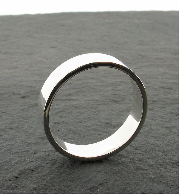 Silver broad wedding ring, Water Ripples design - Cumbrian Designs