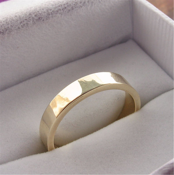 Gold broad wedding ring, Water Ripples design - Cumbrian Designs