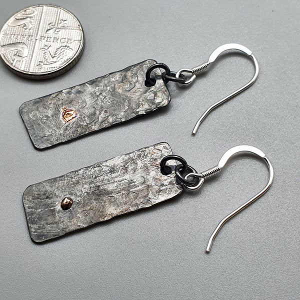 Black Silver and gold hammered slate drop earrings Cumbrian Designs