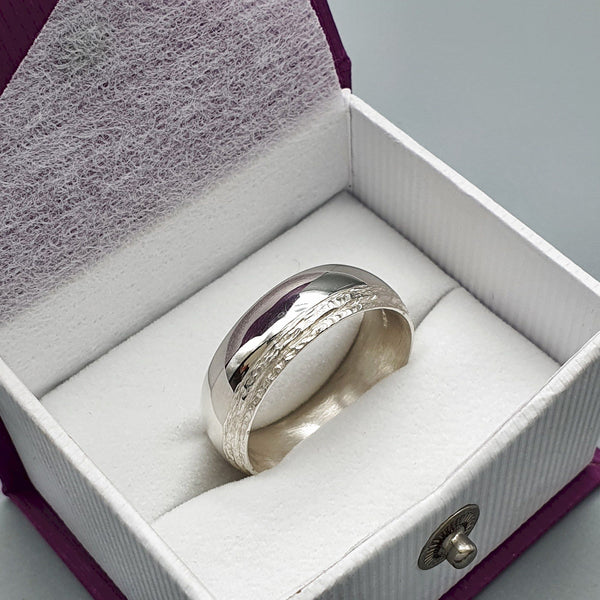 White gold broad wedding ring, Ullswater designer band.