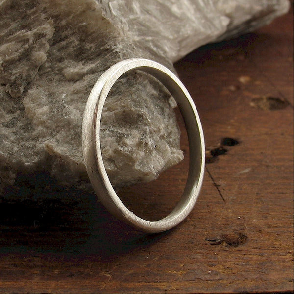 White gold court thin wedding ring. - Cumbrian Designs