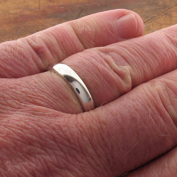 Silver court thin wedding ring - Cumbrian Designs