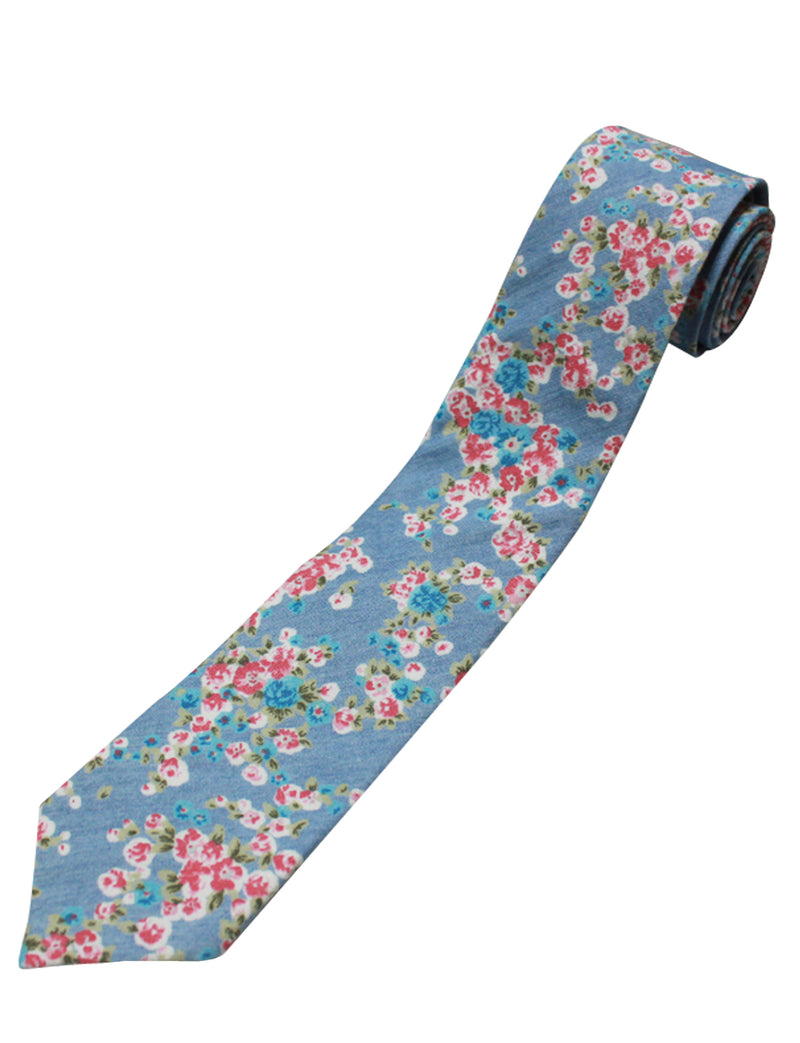 TAM WARE Men's Stylish Slim Floral Print Necktie