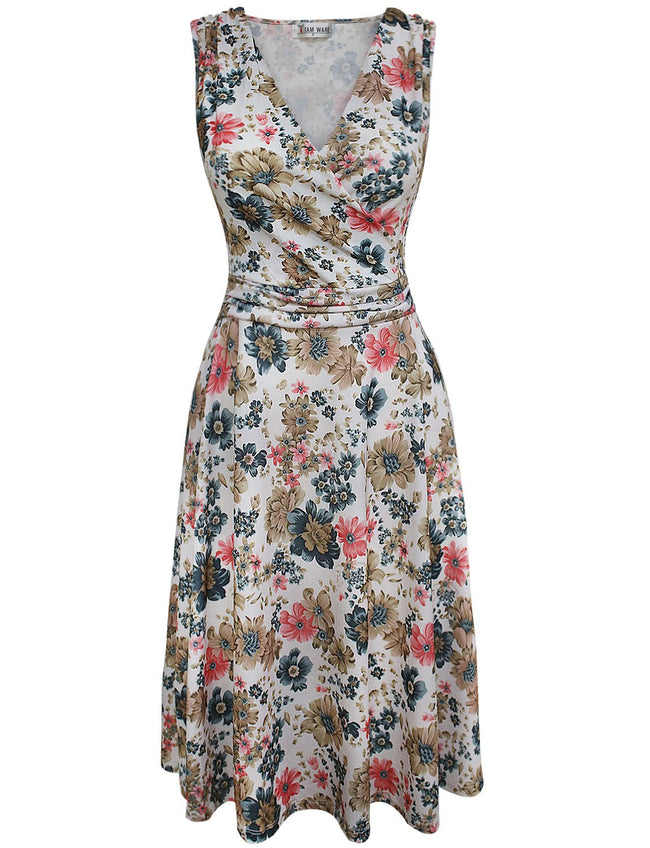 TW Women's Surplice Pleated Waist Floral Skater Dress