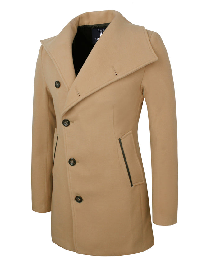 TAM WARE Men's Unbalanced Single Breasted Button Wool Pea Coat (TWNFD077J)
