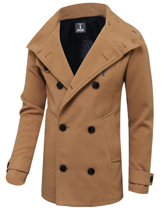 TAM WARE Men's Fashion Classic Wool Double Breasted Pea Coat (TWCC08)