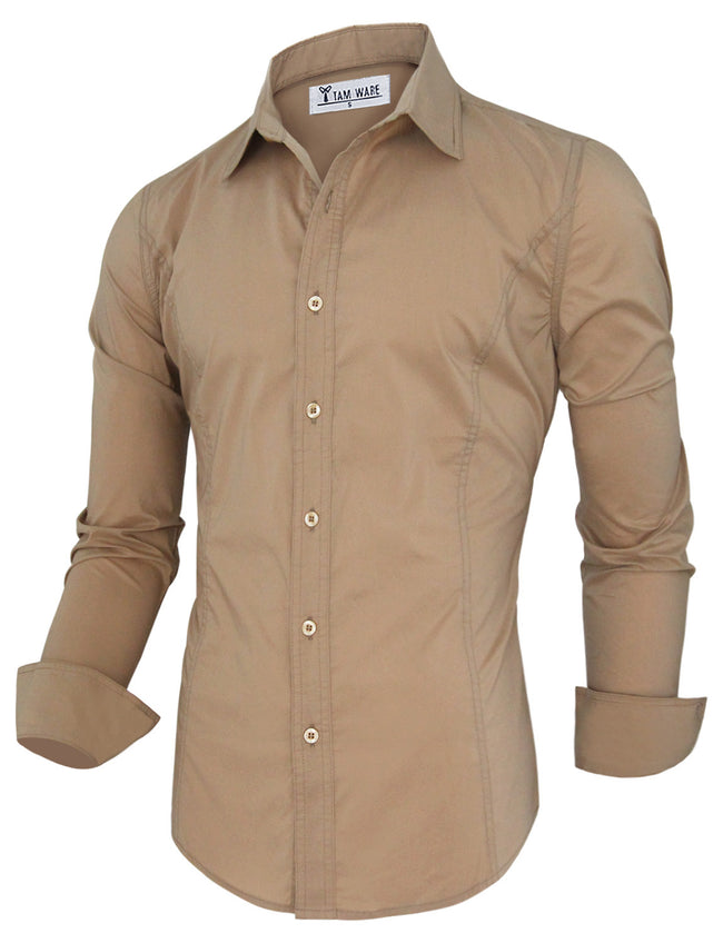 TAM WARE Men's Basic Casual Slim Fit Dress Shirts