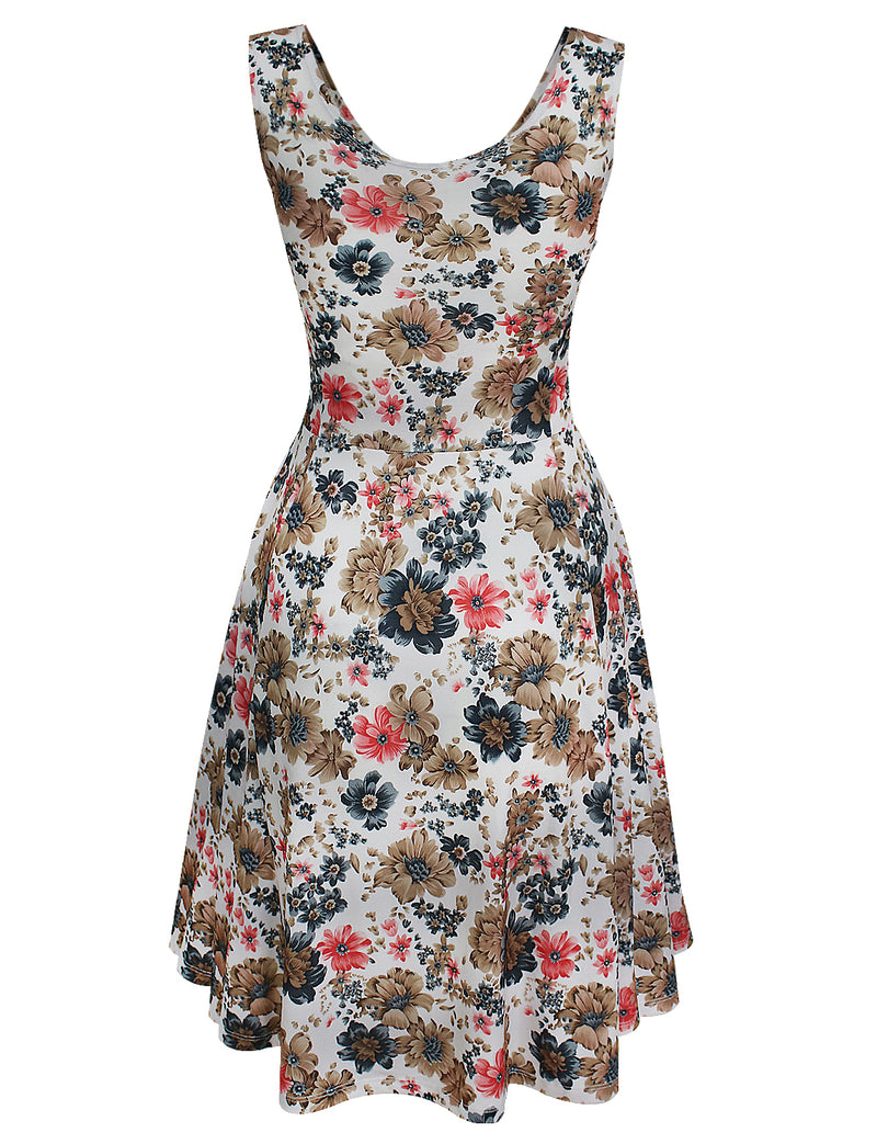 TAM WARE Women's Vintage Inspired Sleeveless Floral Dress