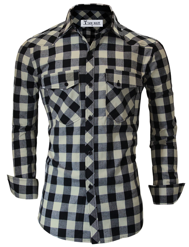 TAM WARE Men's Classic Slim Fit Plaid Button Down Shirt