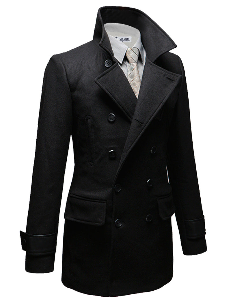 TAM WARE Men's Premium Wool Blend Slim Fitted Pea Coat