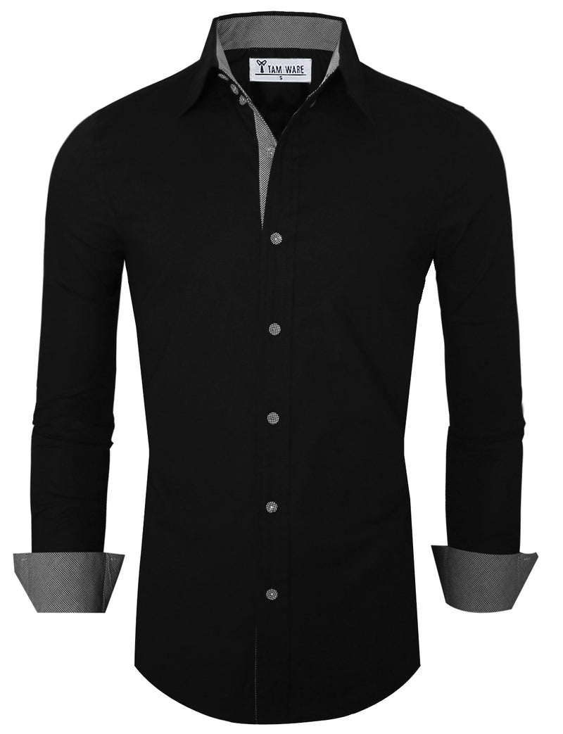 TAM WARE Men's Classic Slim Fit Inner Plaid Button Down Shirts