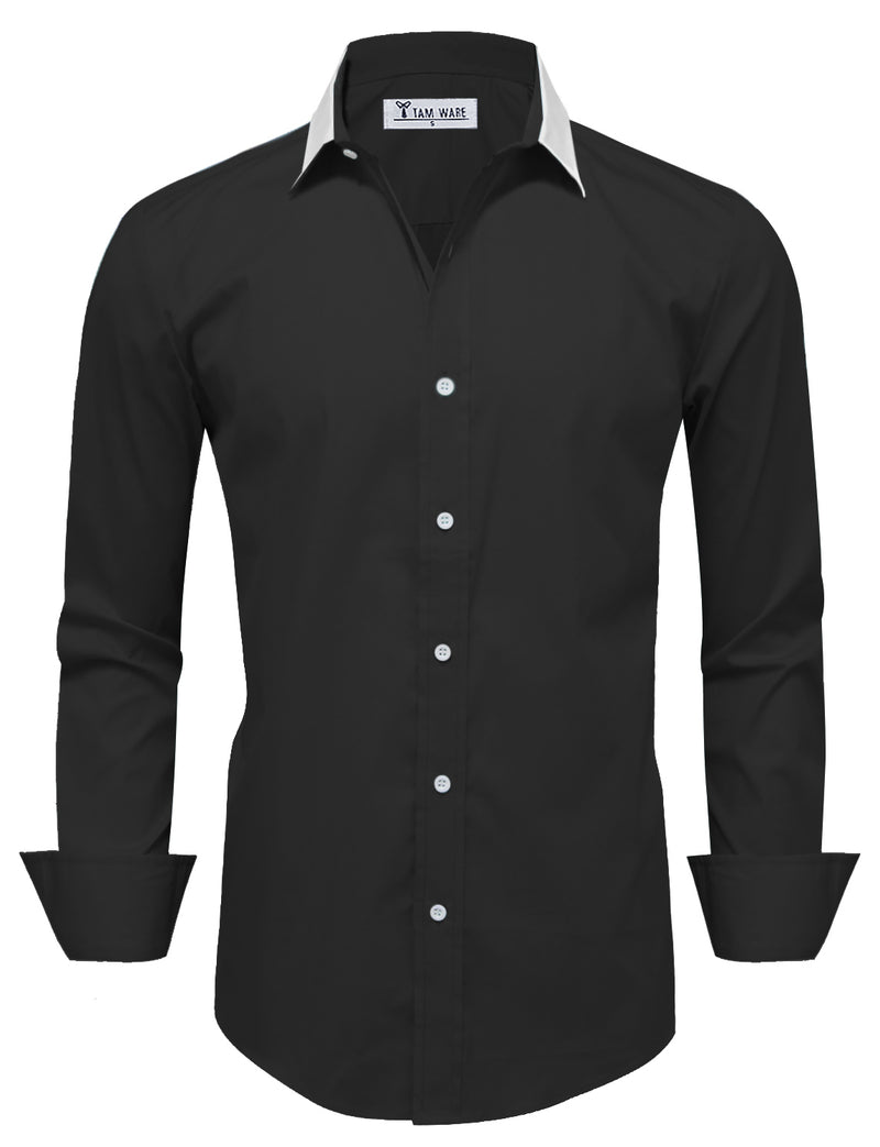 TAM WARE Men's Trim Shoulder Long Sleeve Dress Shirts