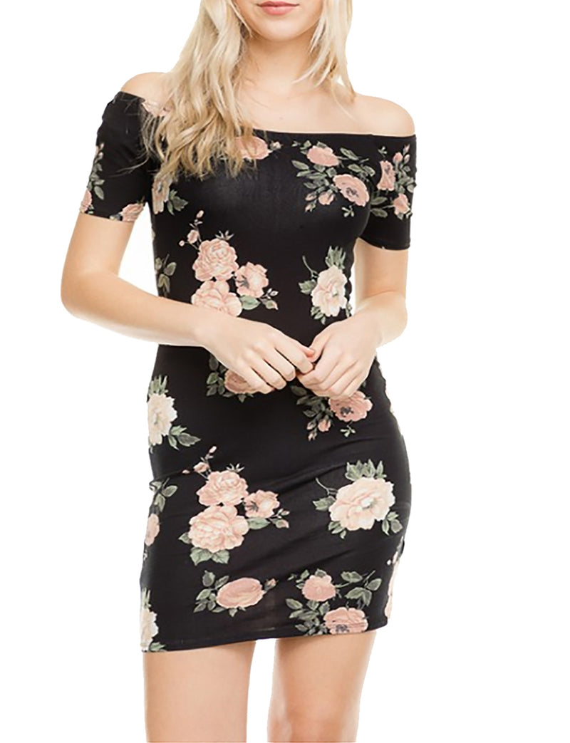 TAM WARE Women Off Shoulder Printed Bodycon Mini Dress