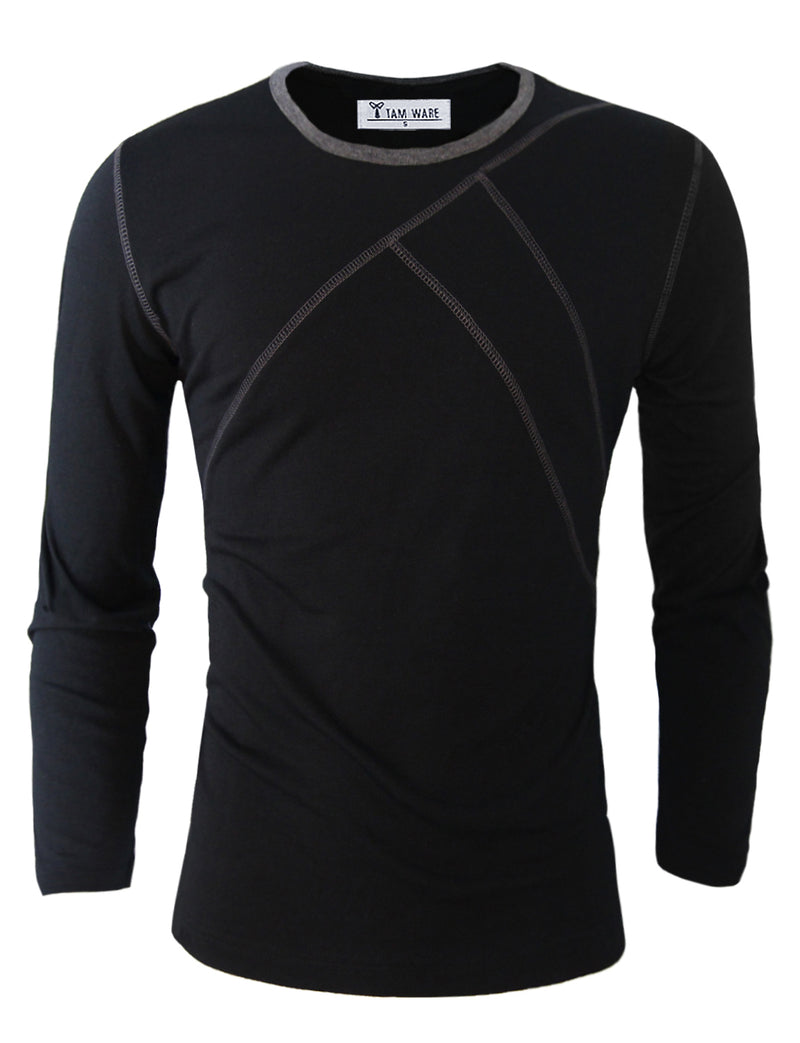 TAM WARE Men's Casual Slim Fit Long Sleeve Crew Neck T-Shirt