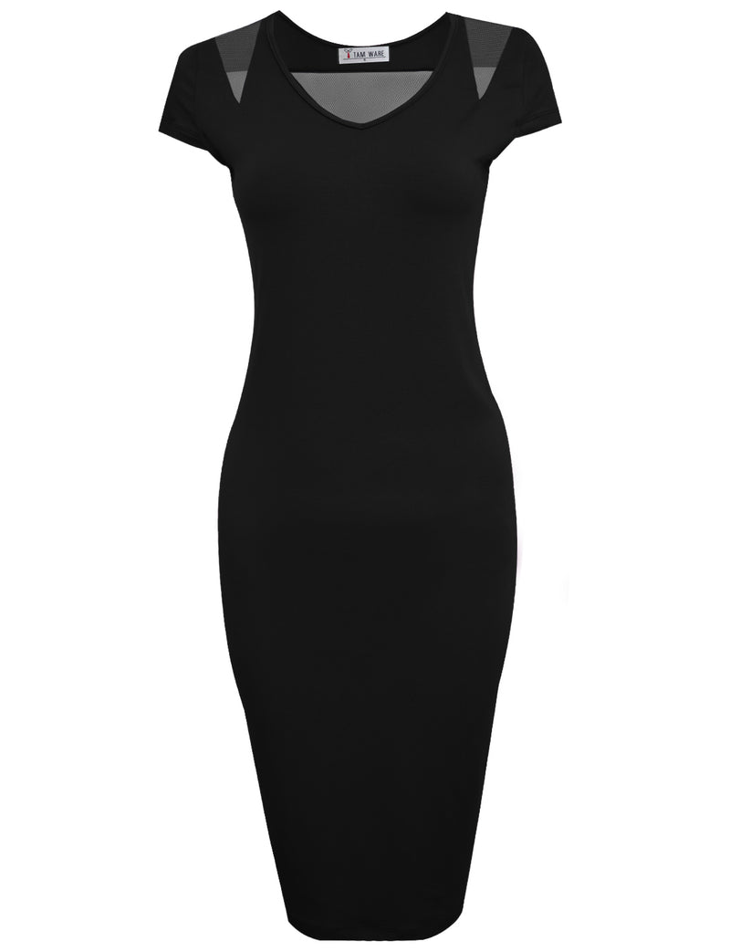 TAM WARE Women's V-Neck Mesh Cap Sleeve Bodycon Midi Dress