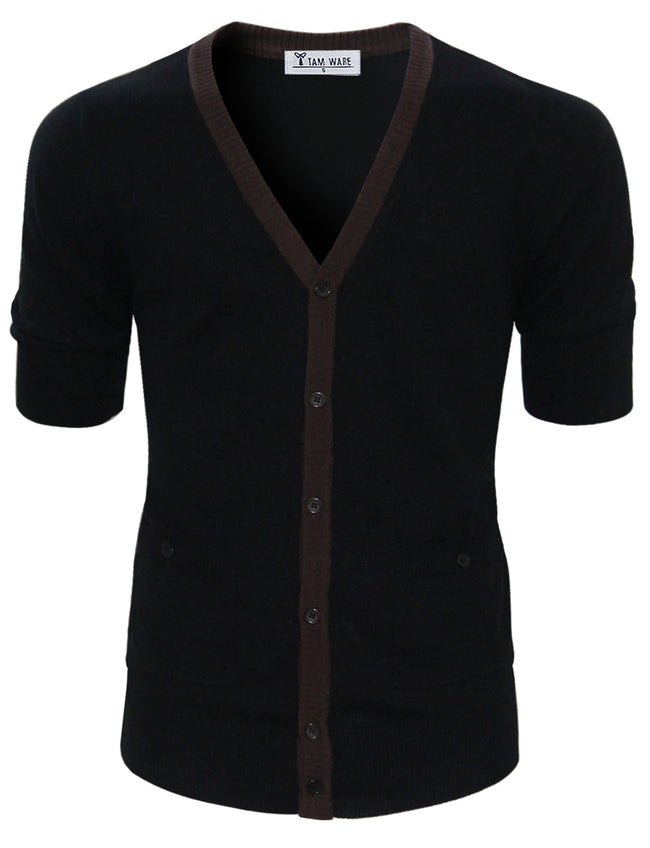 TAM WARE Men's Classic Slim Fit Ribbed Six Buttoned Cardigan
