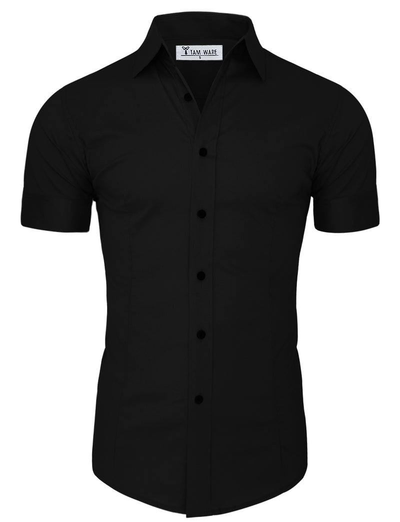 TAM WARE Men's Casual Slim Fit Short Sleeve Winkle Free Button Down Shirt