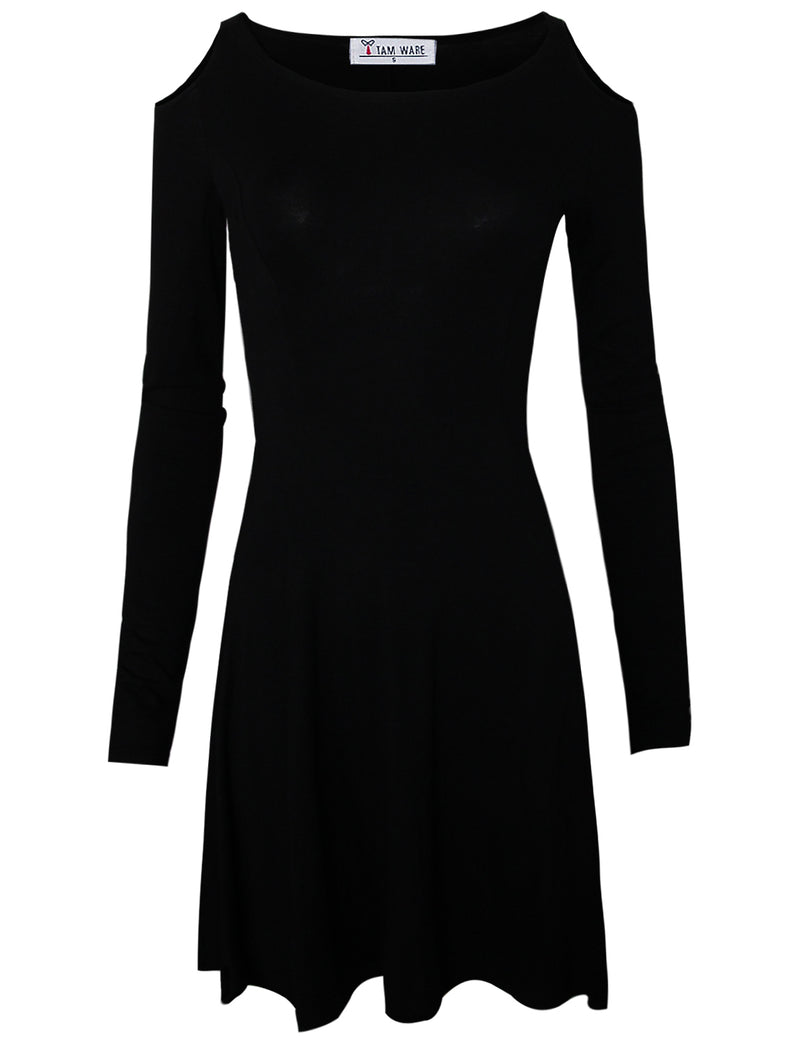 TAM WARE Women Trendy Dolly Cut Out Shoulders Longsleeve Flare Dress
