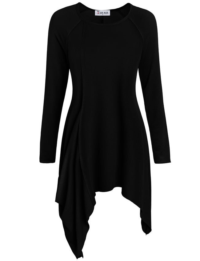 TAM WARE Women's Handkerchief Hem Long Sleeve Tunic Top (Made in USA)