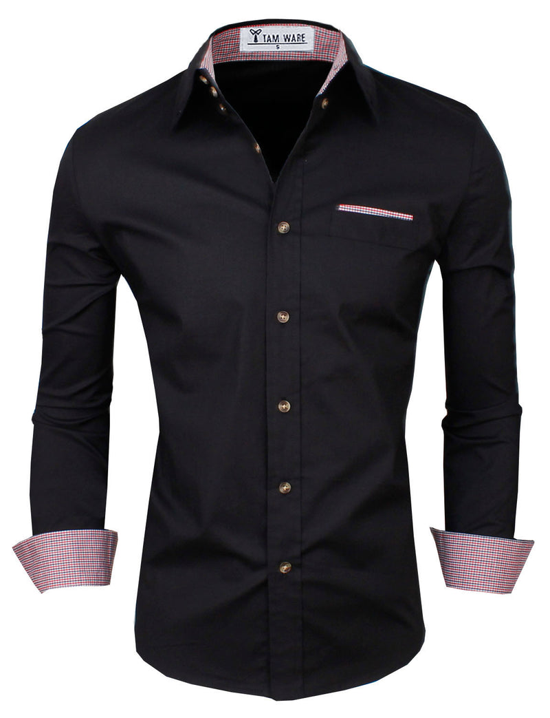 TAM WARE Mens Inner Checkered Button Down Shirts