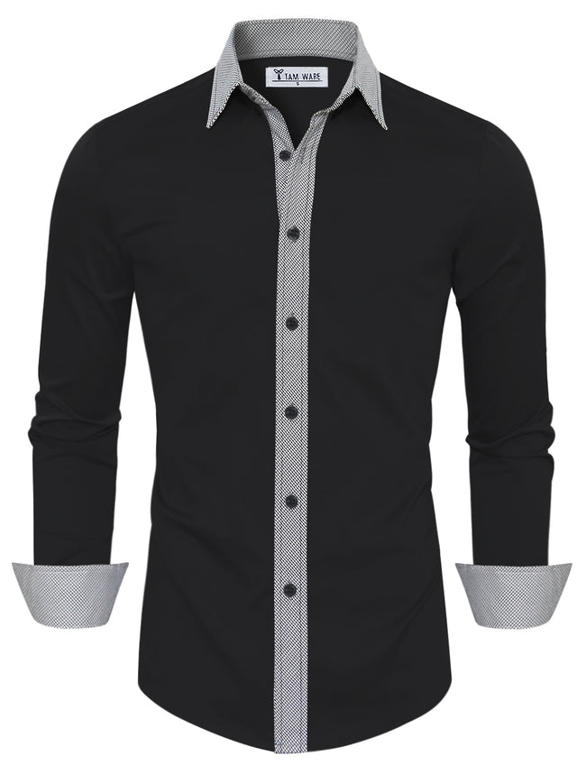 TAM WARE Men's Casual Slim Fit Contrast Lining Button Down Dress Shirts