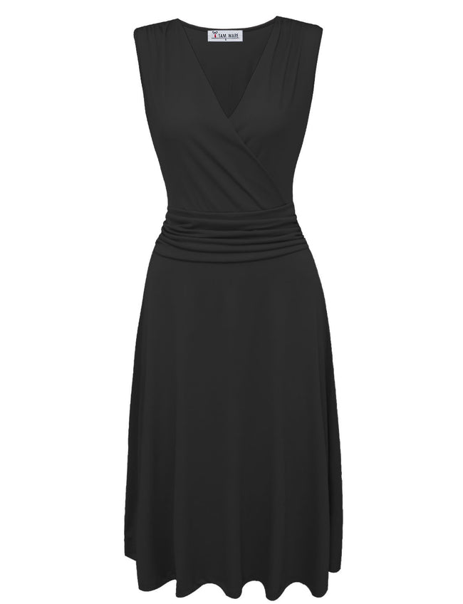 TAM WARE Women Sylish Pleated Waist V-Neck Sleeveless Skater Dress