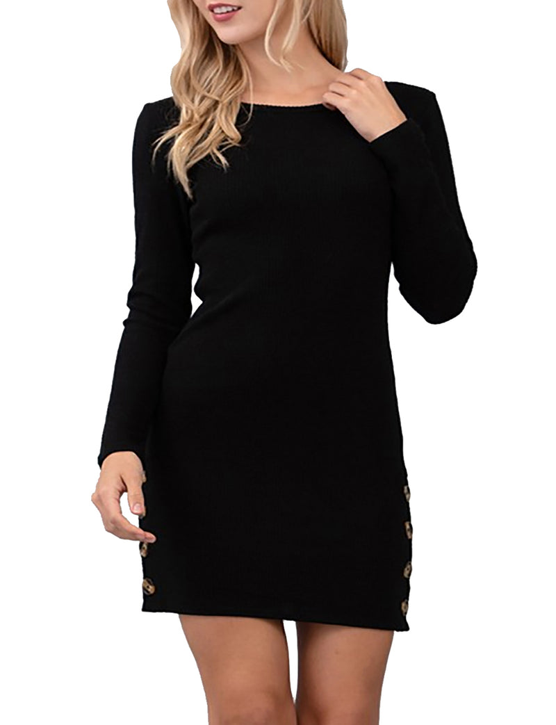 TAM WARE Women Hacci Ribbed Long Sleeve Bodycon Mini Dress
