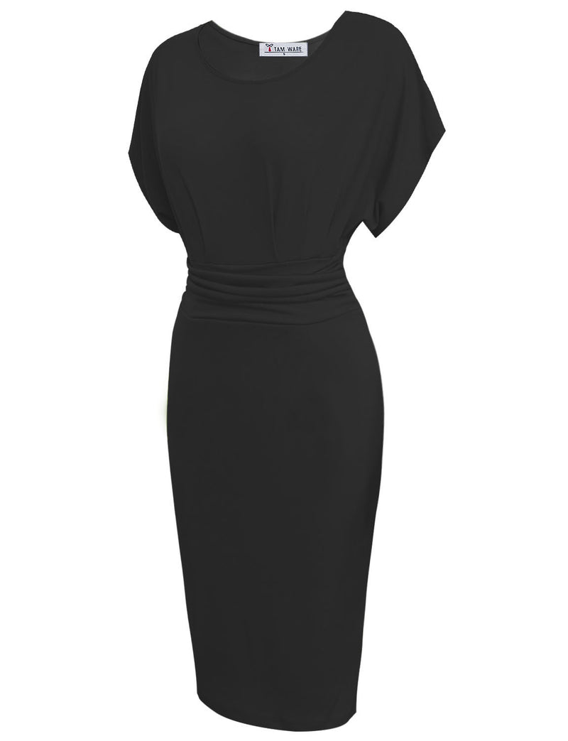 TAM WARE Women's Elegant Pleated Waist Short Sleeve Bodycon Midi Dress