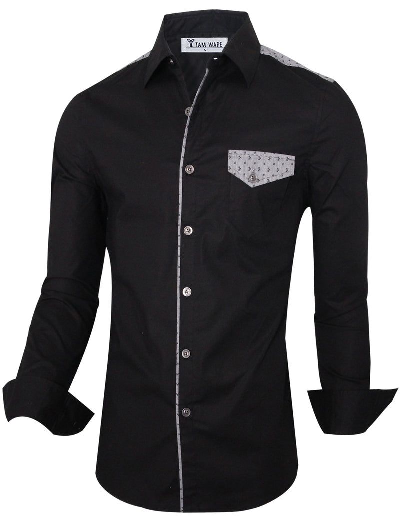 TAM WARE Men's Stlyish Slim Fit Two-toned Long Sleeve Button Down Shirt