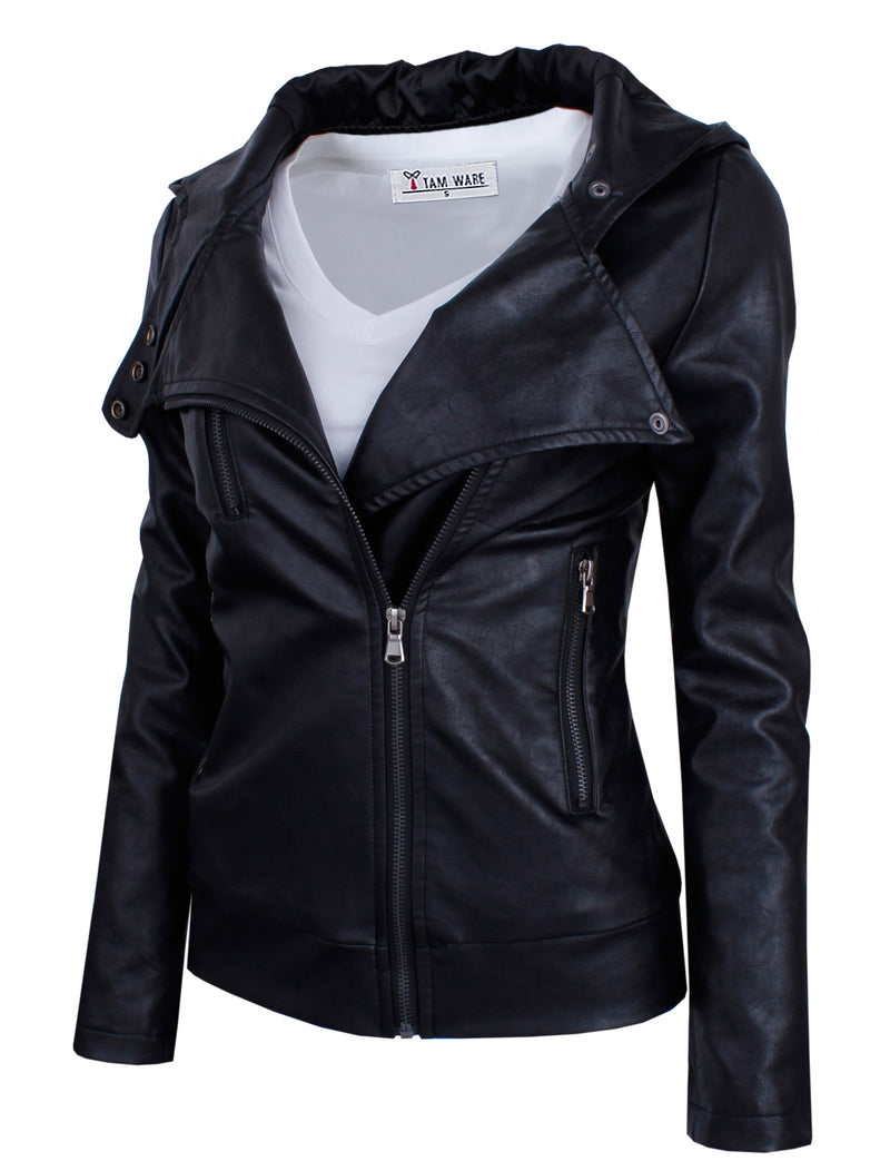 TAM WARE Women's Fashionable Asymmetrical Zip-up Faux Leather Jacket