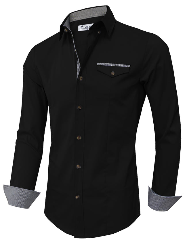TAM WARE Men's Casual Inner Contrast Button Down Long Sleeve Shirt