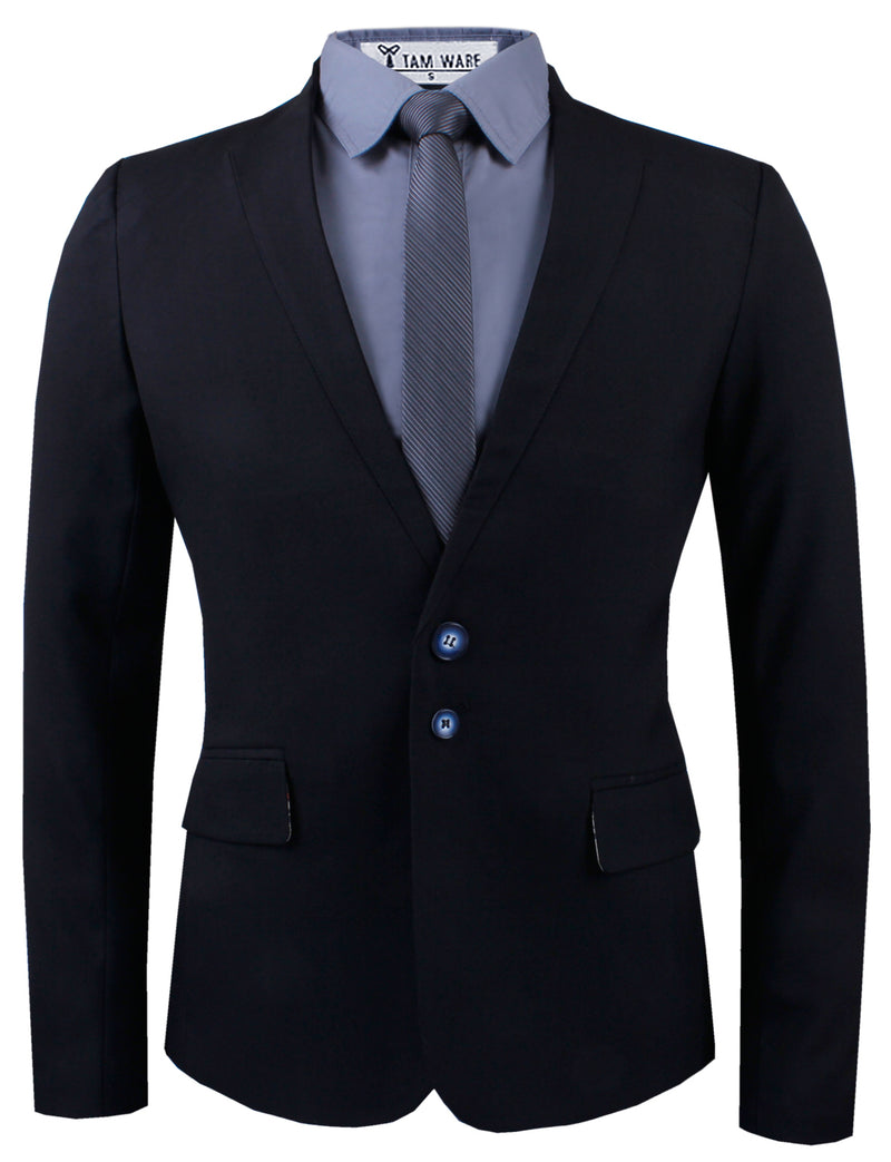 TAM WARE Men's Casual Slim Fit Structured Two Button Twill Blazer