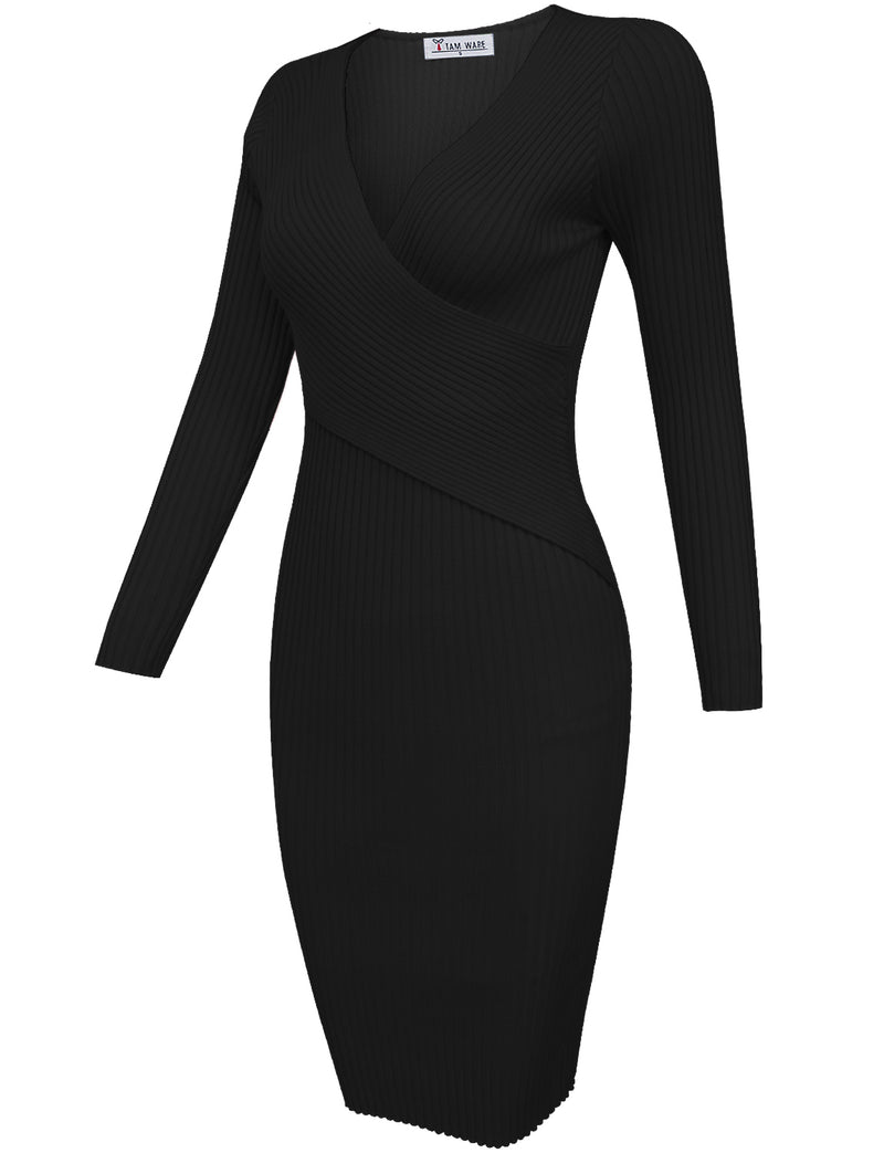 TAM WARE Women's Stylish Surplice Wrap Bodycon Knit Midi Dress