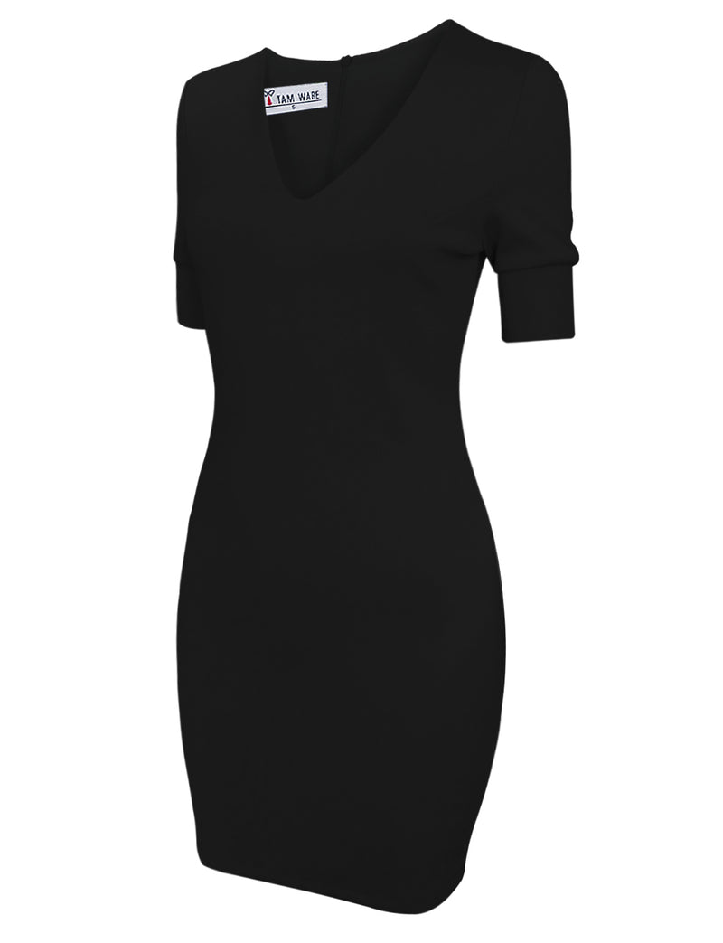 TAM WARE Women's Stylish Short Sleeve V-Neck Bodycon Dress