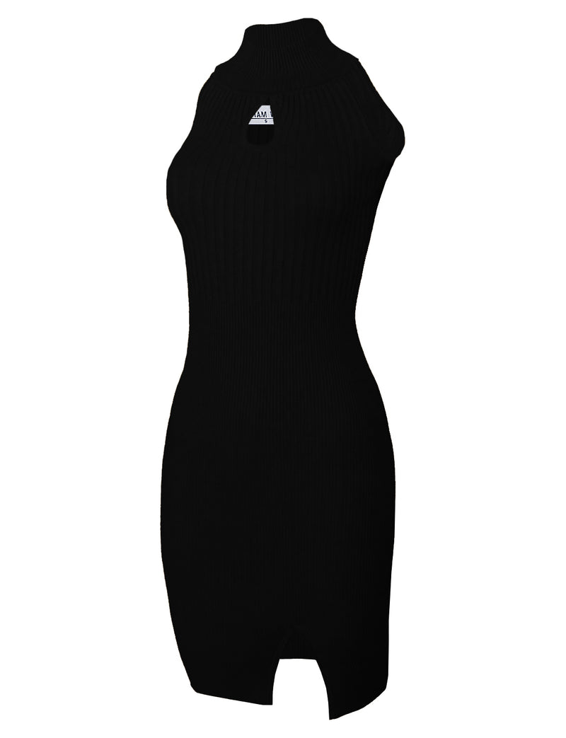 TAM WARE Women's Casual Slim Fit Knit Front Keyhole Sleeveless Bodycon High Neck Dress
