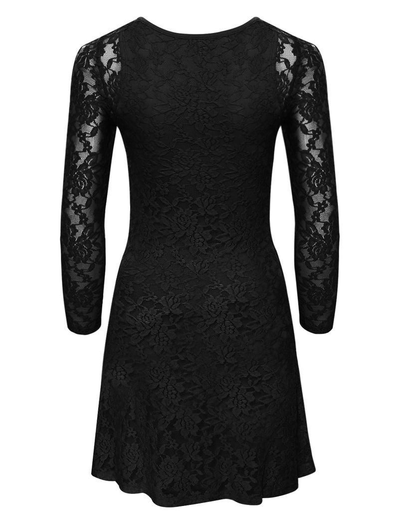 TAM WARE Women's Stylish Floral Lace Long Sleeve Scoop Neck Flare Dress