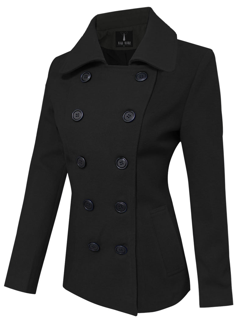 TAM WARE Women's Trendy Double Breasted Wool Pea Coat