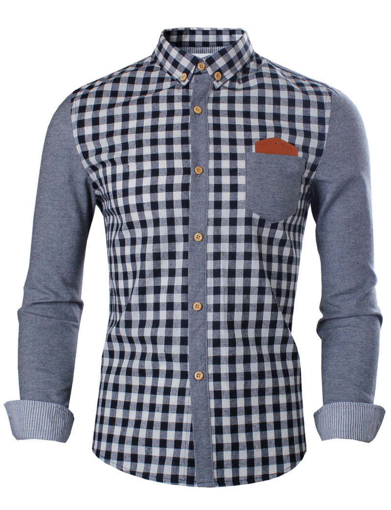 TAM WARE Men's Slim Fit Two-toned Checkered Long Sleeve Shirt