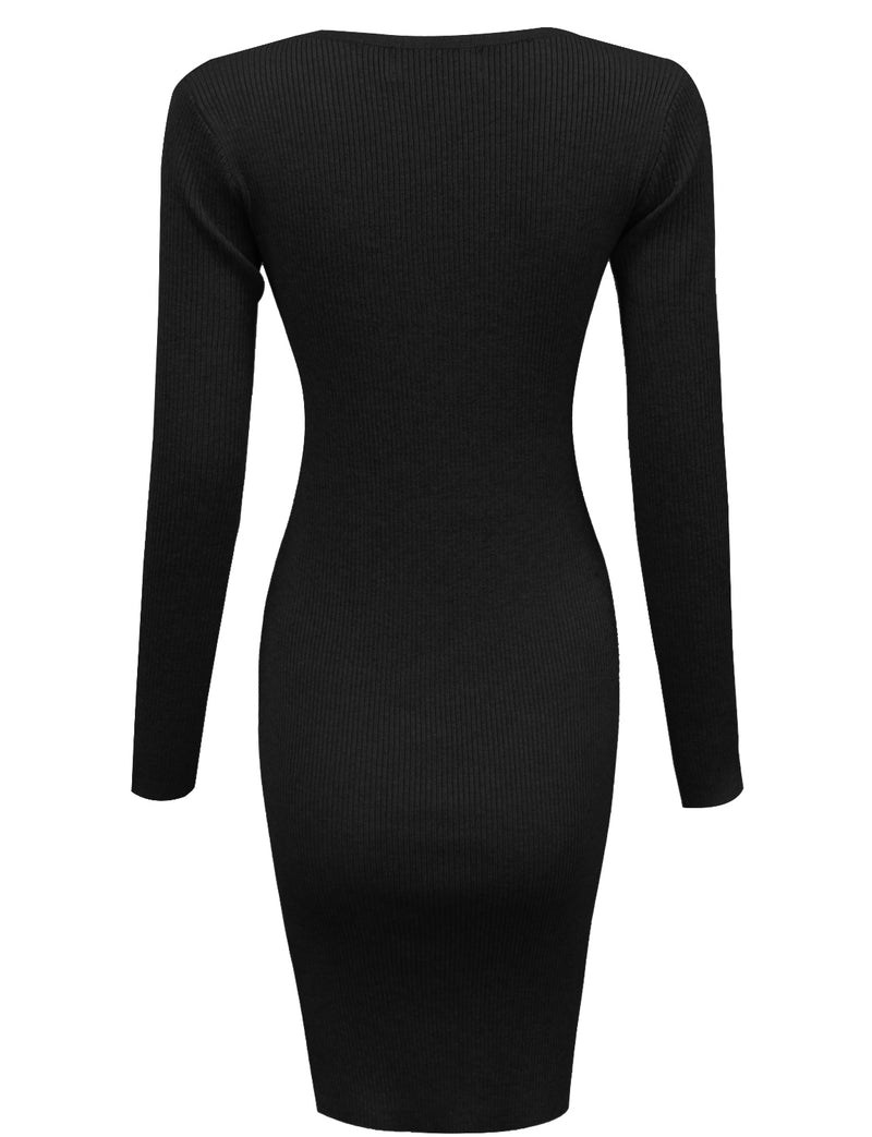 TAM WARE Women's Bodycon Sweater Long Sleeve Mini Dress