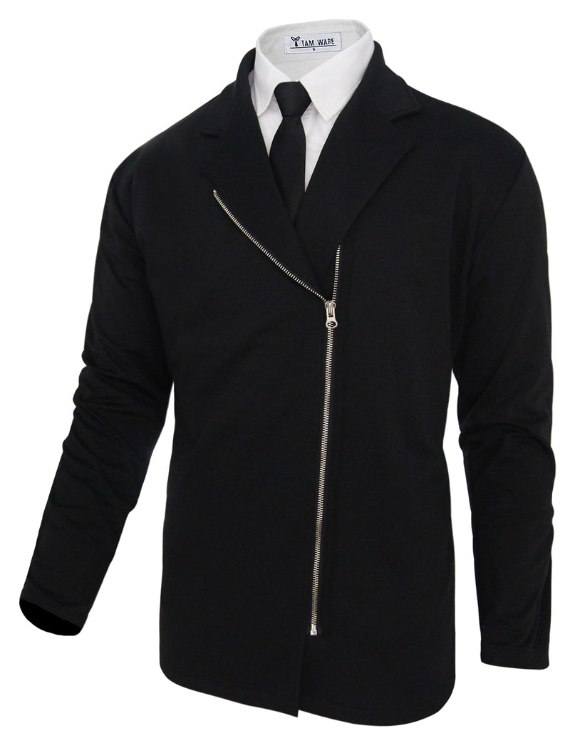 TAM WARE Men's Stylish Slim Fit Zip Up Blazer Jacket