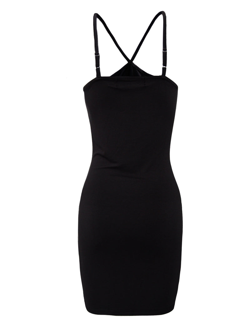 TAM WARE Women's Slim Fit Adjusted Spaghetti Strap Bodycon Tank Mini Dress