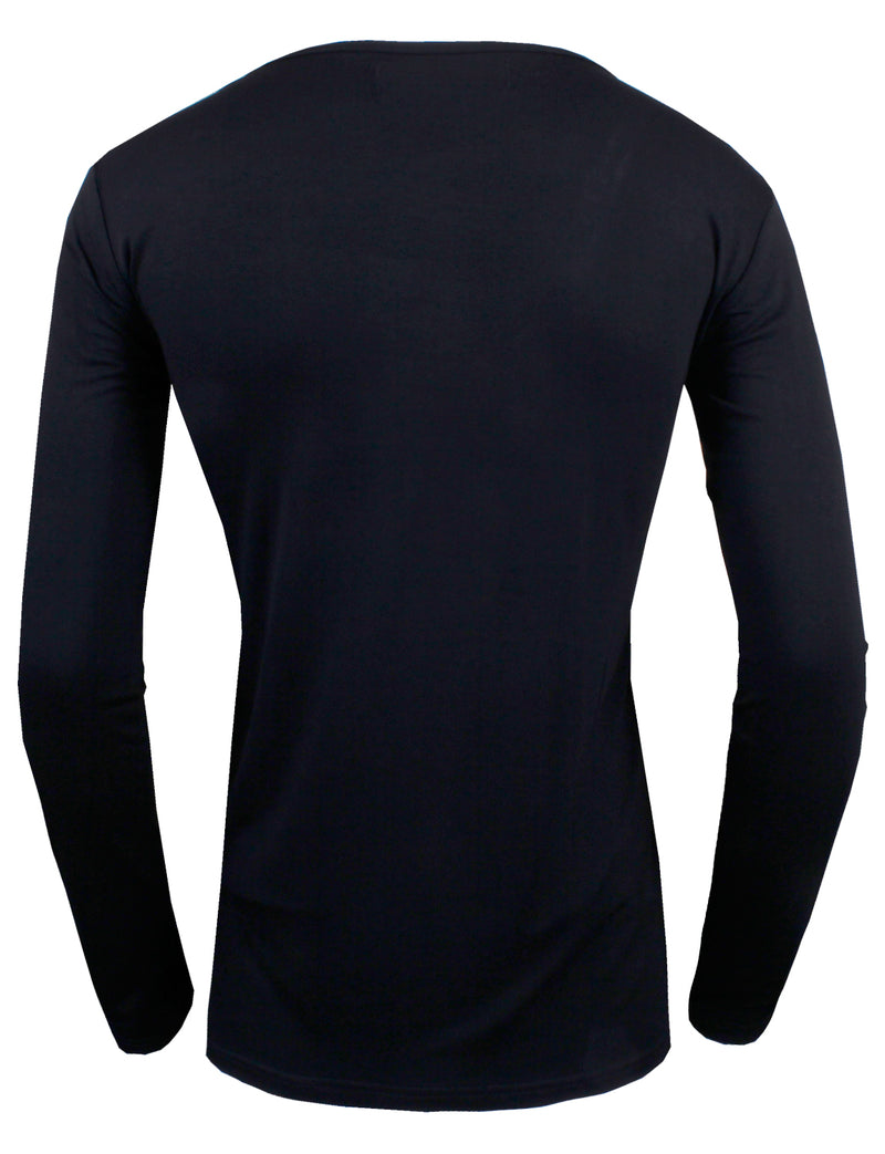 TAM WARE Men's Classic Slim Fit Side Contrast Button Long Sleeve T-Shirt