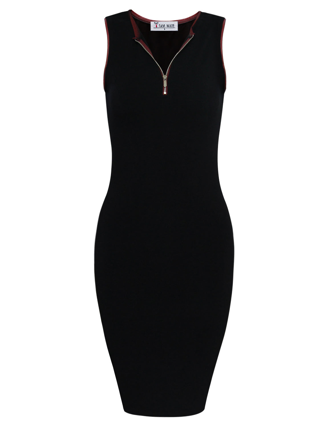 TAM WARE Women's Stylish Front Zip Sleeveless Bodycon Dress