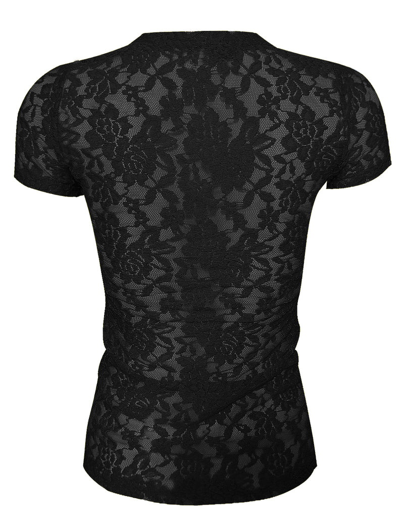 TAM WARE Women's Elegant Short Sleeve Sheer Floral Lace Blouse