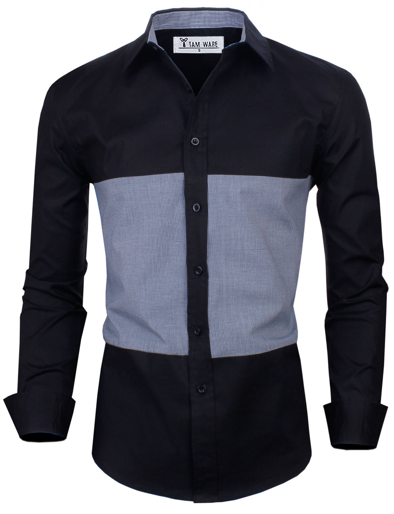 TAM WARE Men's Casual Slim Fit Two-toned Plaid Long Sleeve Dress Shirt