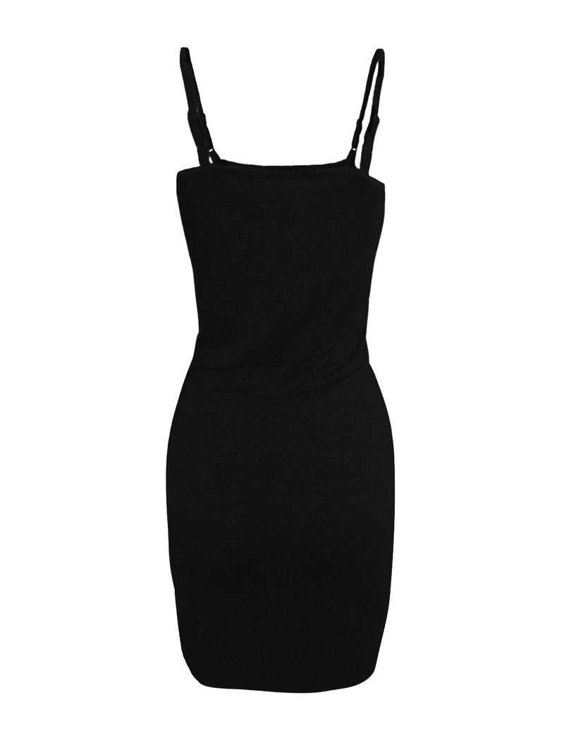 TAM WARE Women's Casual Slim Fit Adjusted Spaghetti Strap Bodycon Tank Mini Dress